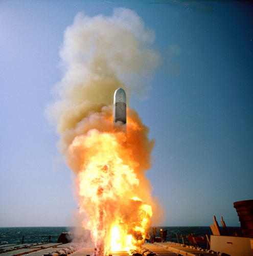 <p>A Raytheon-built Tomahawk Block IV is launched from the U.S.S. Stethem (DDG-63).</p>