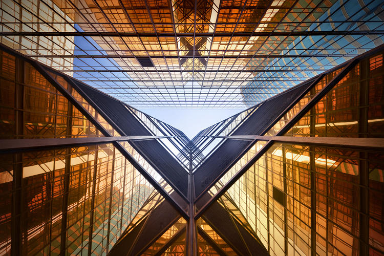 <p>He takes dizzying photos of skyscrapers from the ground up.</p>
