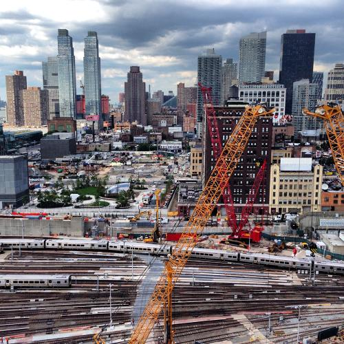 <p>This image was taken during a tour of the construction site in July. Related will be building a platform over the Long Island Railroad's rail yards, and the buildings will rise above it.</p>