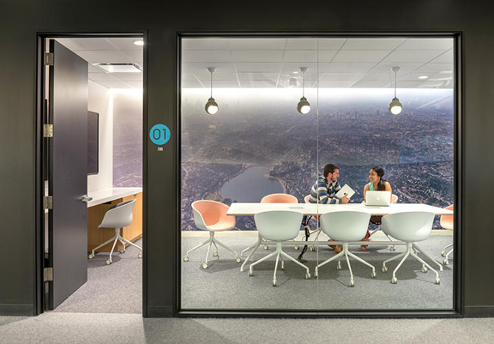 "<p>Beats may be all about what goes in your ears, but this workplace feeds the visual. ""The references are cinematic and the idea is about view: hidden view, open view,"" Bestor says.</p>"