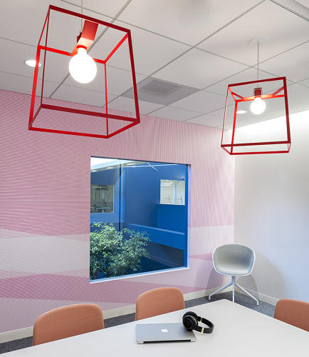 "<p>Bestor is known for her use of color and patterning--graphic signatures oft used in her retail and residential projects. ""Daytime disco is not a bad model for an office, "" she says.</p>"