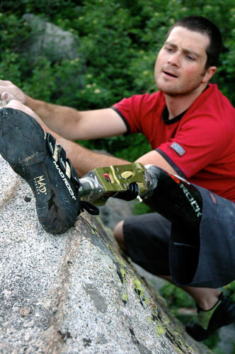 <p>Extreme athlete Jarem Frye on a ledge at Cottonwood Canyon State Park in Oregon.</p>