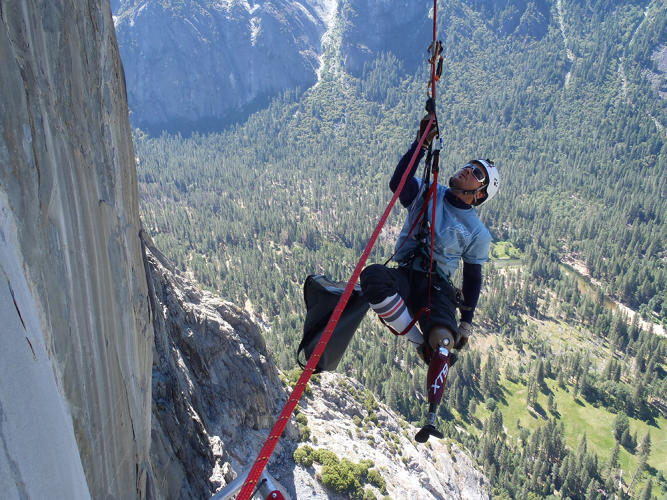 <p>Jarem Frye wears the XT9 prosthetic knee he designed while climbing El Capitan in Yosemite.</p>