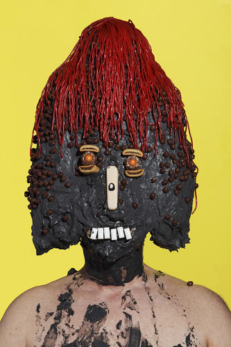 <p>Ostrer turned himself and his friends into human sculptures made of junk food.</p>