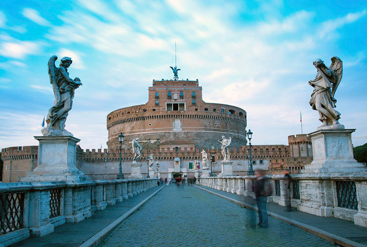 <p>Mausoleum of Hadrian (also known as Castel Sant'Angelo, or Castle of the Holy Angel), Rome, Italy</p>
