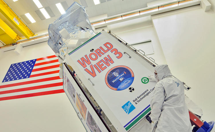 <p>The WorldView-3 satellite as it is prepped for inspection.</p>