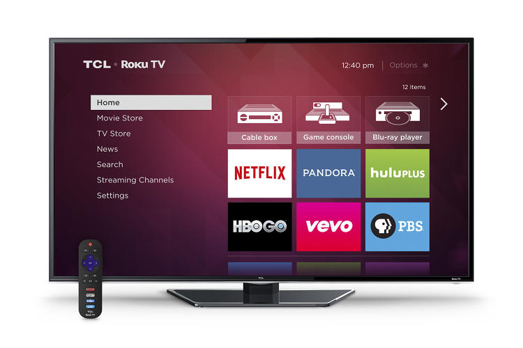 <p>Home screen on TCL's Roku-powered TV</p>
