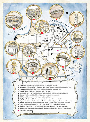 <p>The most recent menu is based on an illustrated tourist map of San Francisco. Josh Harris, one of the founders of The Bon Vivants, says design elements heavily influence patrons' experiences before they even try the food or drinks. &quot;The menu plays a role, but also what your front door looks like, what your doorman says, what the bartenders are wearing, what the drink looks like, what glassware or garnish is used--all that is critically important.&quot;</p>