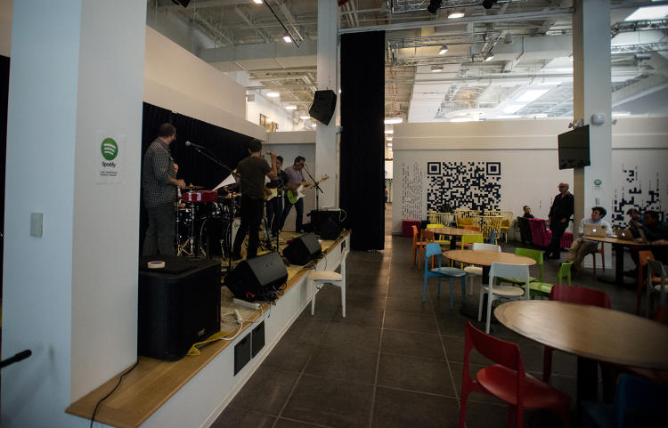 <p>The Spotify house band practices some Beatles covers during lunch.</p>