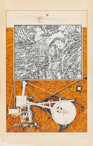 <p>Lebbeus Woods, Center for New Technology, Montage 1, 1985. Marker ink and technical pen and ink with graphite underdrawing and printed collage on Paus or Mylar mounted to paper board, 27 x 17 1/8&quot;.</p>