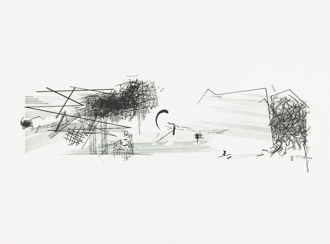 <p>Daniel Libeskind, V – Horizontal, from the series Chamber Works: Architectural Meditations on Themes from Heraclitus, 1983. Screen print on BFK Rives paper, 22 3/8 x 30 1/16&quot;. Collection of the Alvin Boyarsky Archive.</p>