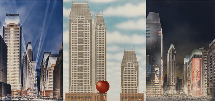 <p>Renderings of the proposed Times Square development, which critics panned. (Credits: Left: Philip Johnson and John Burgee, &quot;Times Square Center,&quot; 1984. John Burgee Architects. Center: Proposal for The Big Apple, Venturi, Rauch &amp; Scott Brown, 1984. Collection of Fredric Schwartz. Right: Times Square Center, 1989 redesign;  John Burgee Architects with Philip Johnson, Image courtesy of Alan Ritchie.)</p>