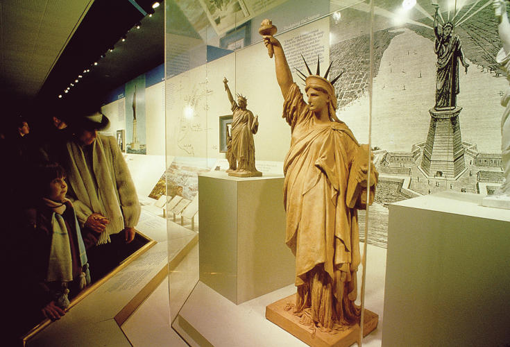 <p>Statue of Liberty museum <br /> View of exhibit showing statue studies, 1986.</p>