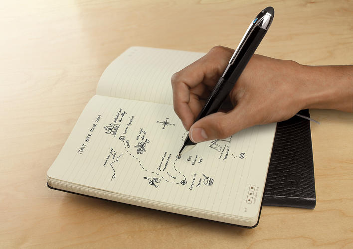 <p>As you write, the pen can track your exact position on the paper.</p>
