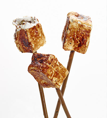 <p>Frozen S'more--a marshmallow that uses honey instead of sugar to be extra chewy, served on torched applewood.</p>