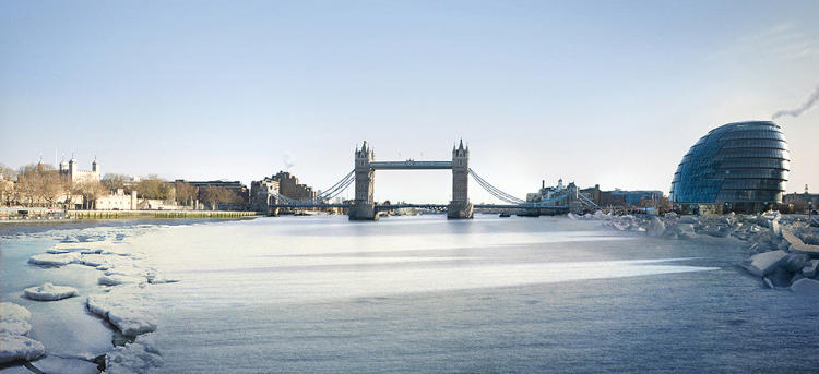 <p>In one scene, rising sea levels have turned London into a Venice-like city that has to be navigated by boat.</p>