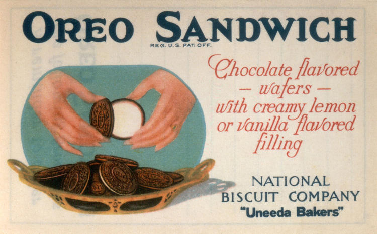 <p>These trolleycar ads were the first to market the idea that people twist open the cookie to eat it rather than consuming it as a complete sandwich. It's also an early example of Oreo's then-novel advertising philosophy, opting for a more graphic style than the vogue of more text-heavy ads during that time.</p>