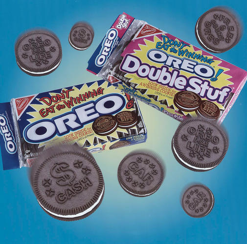 "<p>The ""Don't Eat the Winning Oreo"" sweepstakes featured prizes printed on select cookies. The contest boosted sales 29%. It's also an early example of specially printed messages on Oreo cookies, an idea that would return 15 years later in Trending Vending.</p>"