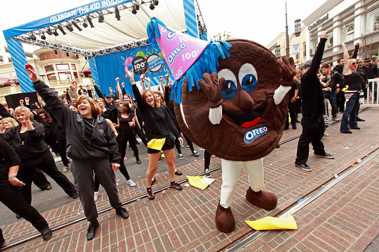 <p>Oreo stages flash mob birthday parties in seven cities on its actual 100th birthday, about eight years after those were a thing.</p>