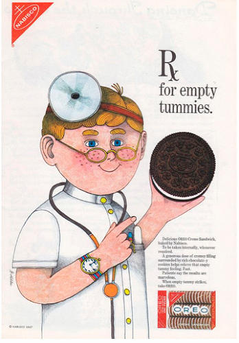 <p>We're pretty sure no licensed physicians prescribed cookies for empty tummies, but if any did, they were likely the same ones <br /> recommending cigarettes to parents a decade or two earlier.</p>