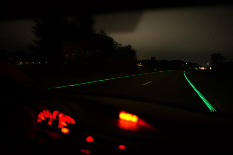 <p>The glow-in-the-dark lane markers are intended to increase road visibility in a more energy-efficient way than traditional street lighting.</p>