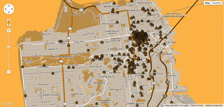 <p>The resulting map underscores a major problem in San Francisco: a lot of people shit on the street.</p>