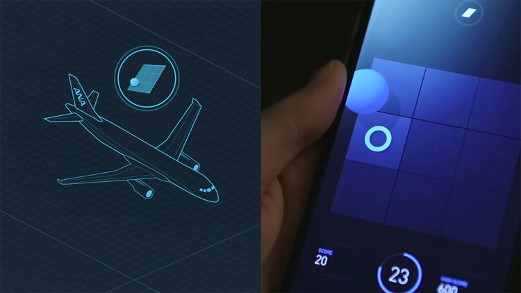 <p>With those data points in mind, ANA designed a relatively engaging game with some relaxing ambient noises, hoping to distract players from persistent thoughts of death by plane crash. Players tilt the phone to get a sphere to land on a spot and score points before the clock runs out. What distinguishes ANA Flight from a run-of-the-mill mobile game is that it can sense when takeoff commences, by reading and analyzing sound. When it senses the right frequencies, the app pauses the game and shows a takeoff animation.</p>