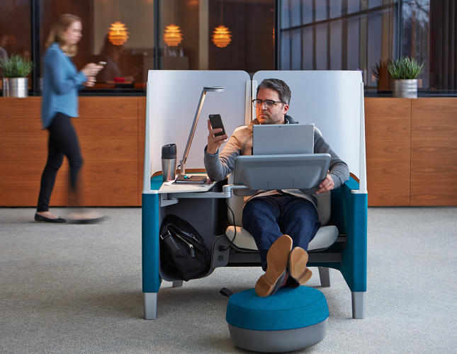 <p>What if, instead of crouching over your desk, you could kick back in a cocoon-like space?</p>