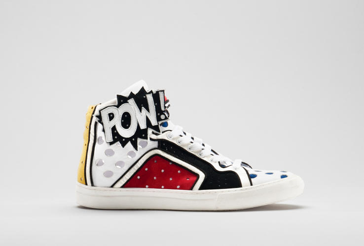 <p>French designer Pierre Hardy took a pop art approach with the Poworama shoe after launching his line of sneakers in 2002.</p>  <p>Collection of the Bata Shoe Museum, gift of Pierre Hardy</p>