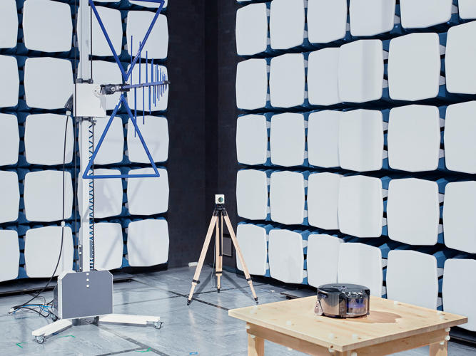 <p>A chamber in Dyson's R&amp;D area tests for radio interference between products; the antennae can pick up a range of frequencies.</p>