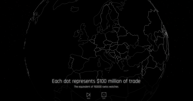 <p>Each dot represents $100 million dollars in trade.</p>