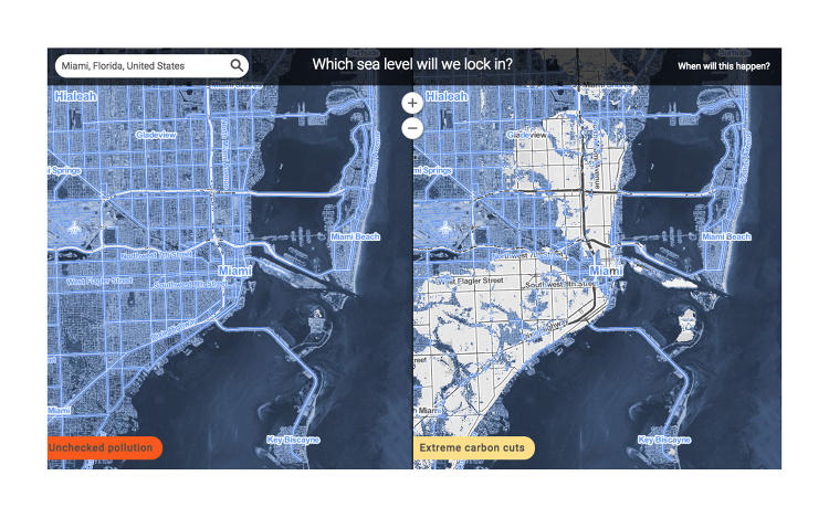 <p>These maps show what sea level rise will do to cities if climate change remains unchecked by 2100. Areas shaded light blue will be underwater.</p>