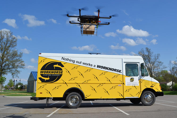 <p>The drones use GPS and a homing system to automatically return to wherever a delivery truck has moved on its route.</p>