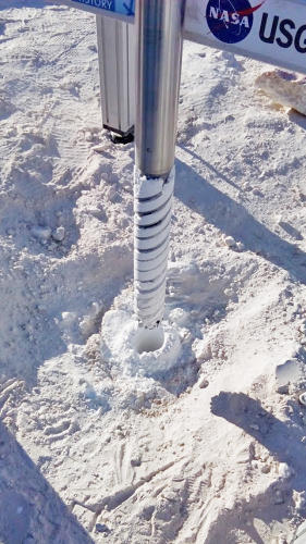 <p>Drilling in gypsum that largely replicates Martian glacier conditions.</p>