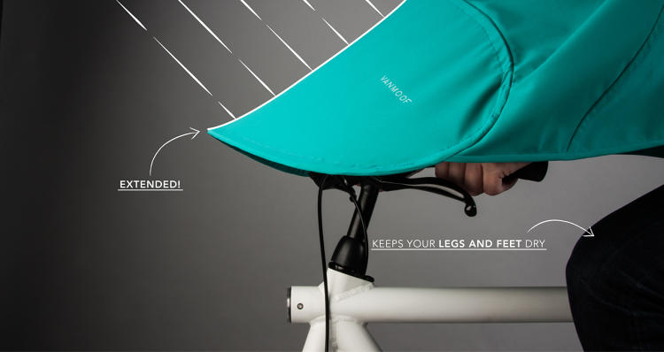 <p>It covers you from your handlebars to your seat.</p>