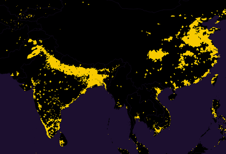 <p>The biggest bursts of yellow are in India, Bangladesh, and China, which alone contain 46% of the global population.</p>