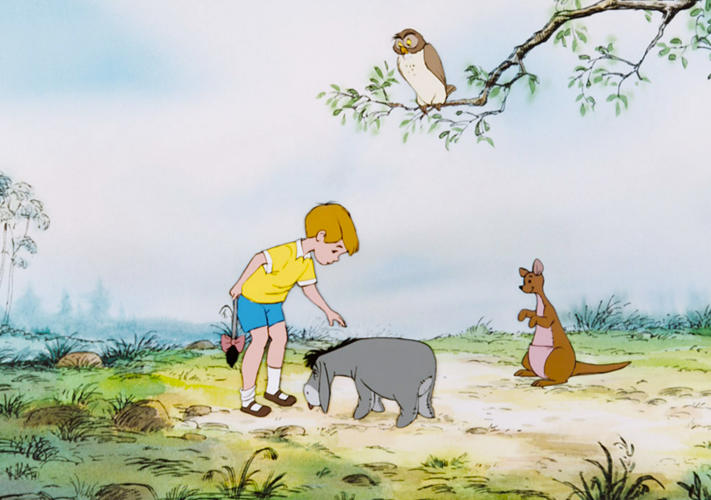 <p>Christopher Robin, Eeyore, Kanga, Roo, and Owl from <em>The Many Adventures of Winnie the Pooh</em>, 1977</p>