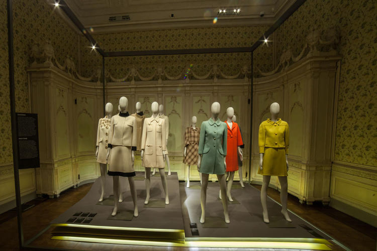 <p>Installation image of Bellissima: Italy and High Fashion 1945-1968 at the Villa Reale in Monza, Italy.</p>