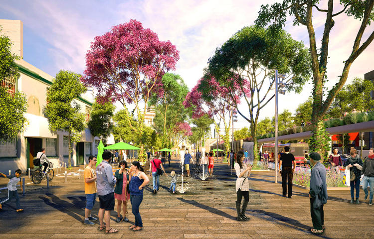 <p>The design aims to reverse the current 80/20 split of land use for cars vs. people.</p>