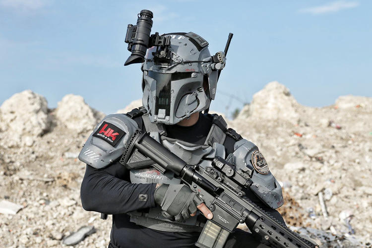 <p>The GalacTec Project from body armor and tactical gear company AR500 was designed by artist Ryan B. Flowers and created in partnership with industry leaders Heckler &amp; Koch, TEA Headsets, Sog Knives &amp; Tools, Armasight, SureFire, Wilcox Industries Corp, and Team Wendy.</p>