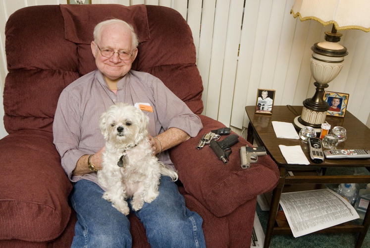 "<p>James with Nicky, Pennsylvania. ""When I was diagnosed with cancer I found myself and my family in need of protection. I was too old to fight, too sick to run, and since cancer took my vocal cords, I couldn't yell for help. I purchased my first firearm.""</p>"