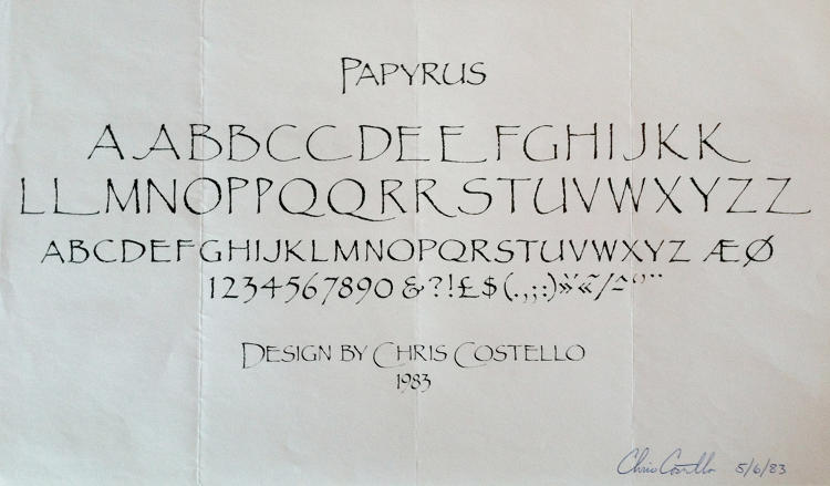 <p>1983 design. The original font set had no lower-case characters and was much more feathery. Letraset wanted Costello to thicken the characters and add a lower-case set for better digital translation and marketability.</p>