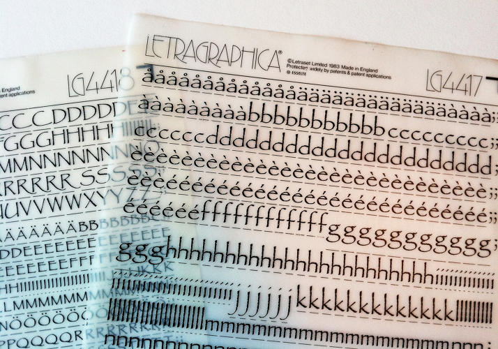 <p>Vintage vinyl transfer lettering sheets from Letraset (press-type).</p>