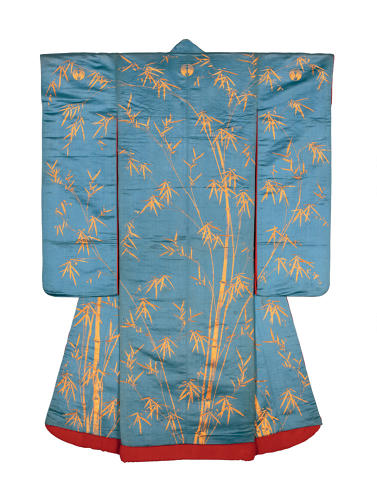 <p>Outer kimono for a young woman (uchikake). Sparrows and bamboo in the 				snow. <br /> Satin silk (shusu); embroidery in silk and metallic threads.<br /> Edo period, 1840–70, 163.5 x 122.5 cm, KX 155.</p>