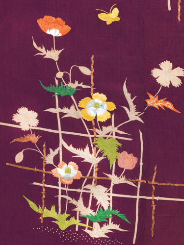 <p>Kimono for a woman (kosode). Hibiscus and butterflies (detail). <br /> Plain weave crepe silk (chirimen); freehand paste-resist dyeing (yūzen), ink 				painting (kaki-e) and embroidery in silk and metallic threads. <br /> Edo period, 1780–1820, 159.0 x 123.5 cm, KX218</p>