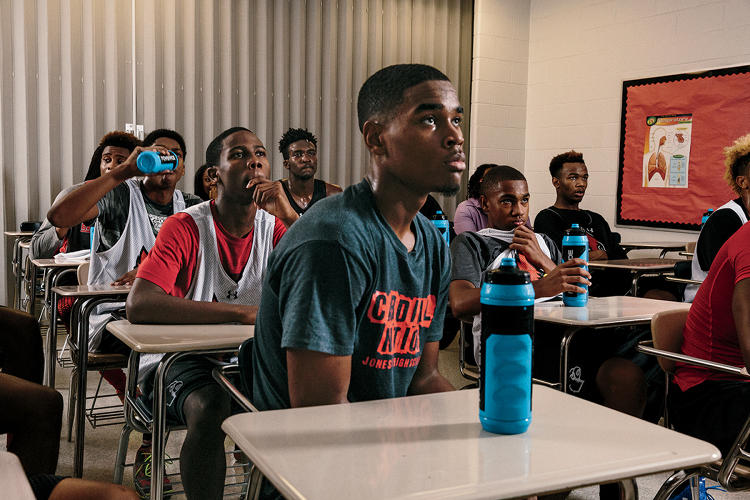 <p>The morning after nearly every game, the members of the Jonesboro basketball team commandeer a high school classroom to review Hudl footage with coach Maehlman.</p>