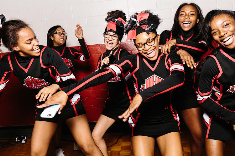<p>The Jonesboro High School cheerleading squad.</p>