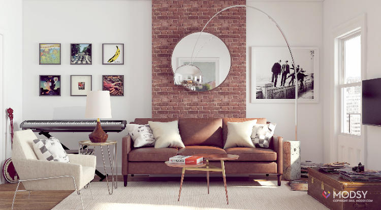 <p>A rendering of my living room, redesigned by Modsy. The team prides itself on creating 3-D images that look like real photos of the space.</p>