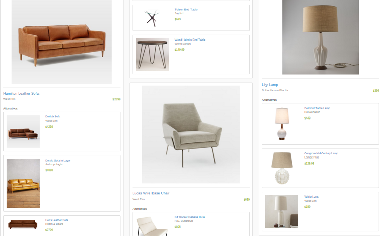 <p>If a user likes anything they see, they can buy it through Modsy or be redirected to the manufacturer's website. Products come from a variety of retailers, including Ikea and Restoration Hardware. Modsy gets a commission off every sale.</p>