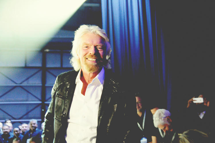 <p>Virgin CEO Richard Branson was in high spirits during the ceremony to unveil the new spaceship.</p>